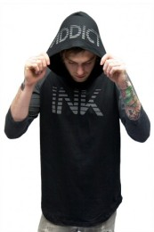 INK ADDICT Lines Men's 34 Sleeve Hooded Tee